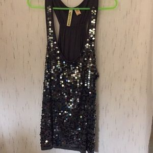 Sequined shiny gray tank top New Years xl